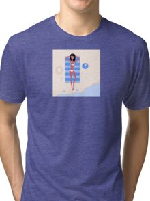 Sexy beach girl near sea water. Illustration of a sexy girl lying on the beach and sunbathing Tri-blend T-Shirt