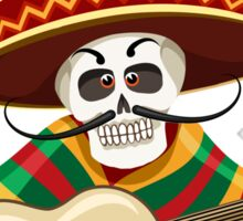 Day of the Dead Mexican Musician Sticker