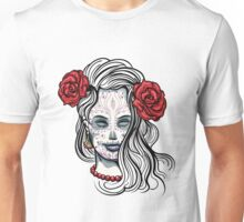 Girl with Sugar Skull Makeup Unisex T-Shirt