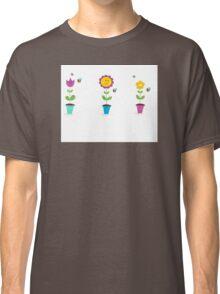 Spring garden flowers - tulip, sunflower and daisy Classic T-Shirt