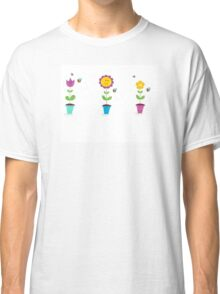 Spring garden flowers - tulip, sunflower and daisy Classic T-Shirt