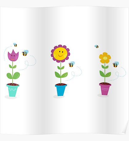 Spring garden flowers - tulip, sunflower and daisy Poster