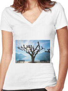 Tree and bench Women's Fitted V-Neck T-Shirt