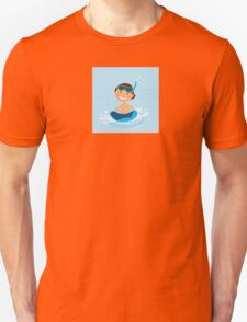 Small boy swimming in water pool. Illustration of small happy boy swimming in cold pool Unisex T-Shirt