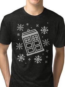 Police Box Christmas Sweater + Card Tri-blend T-Shirt