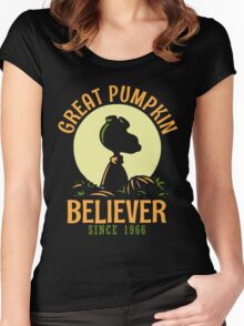 Great Pumpkin Believer, Funny Halloween Custom For Men And Women Women's Fitted Scoop T-Shirt