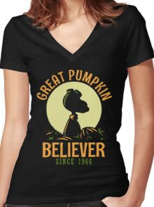 Great Pumpkin Believer, Funny Halloween Custom For Men And Women Women's Fitted V-Neck T-Shirt