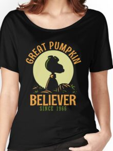 Great Pumpkin Believer, Funny Halloween Custom For Men And Women Women's Relaxed Fit T-Shirt