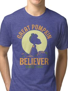 Great Pumpkin Believer, Funny Halloween Custom For Men And Women Tri-blend T-Shirt