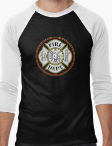 Fire Department Firefighters Badge T-shirt Men's Baseball ¾ T-Shirt