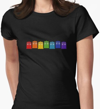 Police Box Rainbow Womens Fitted T-Shirt