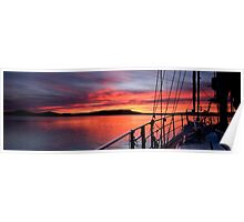 .Nautical Sailboat Sunrise. Photo Art, Prints, Gifts, and Apparel. Poster
