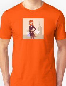 Fashion woman with shopping bags in town Unisex T-Shirt