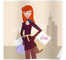 Fashion woman with shopping bags in town Poster