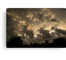 Bizarre Mammatus Clouds In Toronto At Sunset Canvas Print