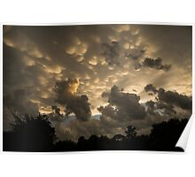 Bizarre Mammatus Clouds In Toronto At Sunset Poster