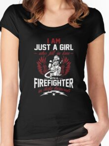 Firefighter T-Shirt - I Fell In Love With A Firefighter Women's Fitted Scoop T-Shirt