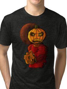 Evil pumpkin head Halloween monster Tri-blend T-Shirt