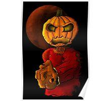 Evil pumpkin head Halloween monster Poster