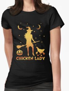 Chicken Lady Halloween, Funny Halloween Custom For Men Or Women Womens Fitted T-Shirt