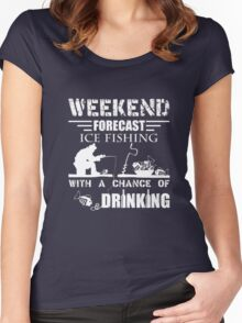 Ice Fishing T shirts - Weekend Forecast Ice Fishing Shirt Women's Fitted Scoop T-Shirt
