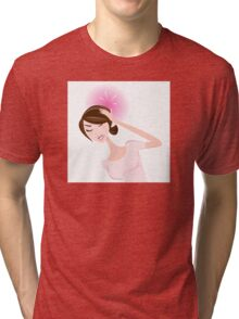 Woman with headache. Stressed in work? Tri-blend T-Shirt