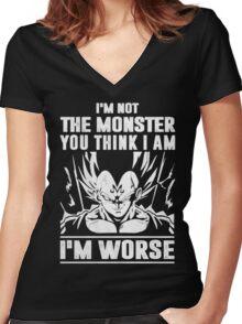 The DragonBall - Vegeta I'm Not Worse Women's Fitted V-Neck T-Shirt