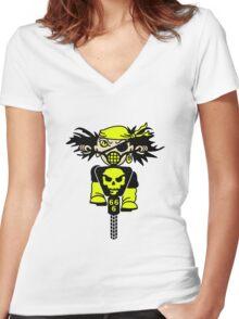 BMX Biker Pirate VRS2 Women's Fitted V-Neck T-Shirt