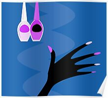 Hand with manicure set : blue and purple edition Poster