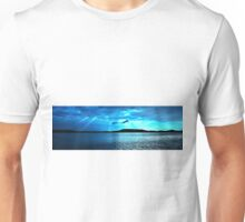 Blue Sunrise waterscape. Photo Art, Prints, Gifts, and Apparel. Unisex T-Shirt
