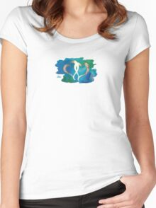 Two Gold Hearts on Watercolor Background Women's Fitted Scoop T-Shirt