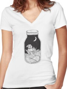 Dog in the bottle black and white Women's Fitted V-Neck T-Shirt
