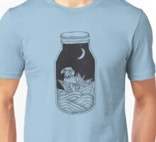 Dog in the bottle black and white Unisex T-Shirt