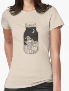 Dog in the bottle black and white Womens Fitted T-Shirt