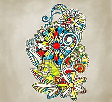 Abstract vector floral and ornamental item background by AndrewBzh