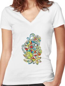 Abstract vector floral and ornamental item background Women's Fitted V-Neck T-Shirt