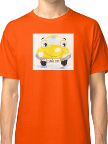 Car wash service - happy yellow automobile with soap bubbles Classic T-Shirt