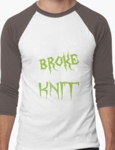 My Broom Broke So Now I Knit, Funny Halloween Custom For Knitter Men And Women Men's Baseball ¾ T-Shirt
