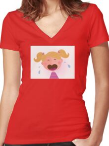 Crying baby girl. Crying small child Women's Fitted V-Neck T-Shirt