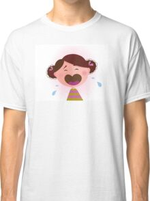 Crying baby girl. Crying small child - brown hair edition Classic T-Shirt