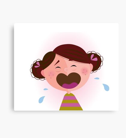 Crying baby girl. Crying small child - brown hair edition Canvas Print