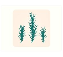 Rosemary herb silhouette : green and  Art Print