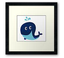 Big blue ocean cartoon whale Framed Print