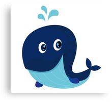 Big blue ocean cartoon whale Canvas Print