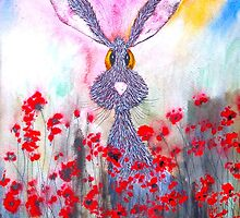 HARE IN POPPIES by Hares & Critters
