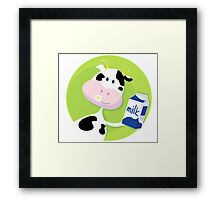 Happy cow with milk box on green background Framed Print