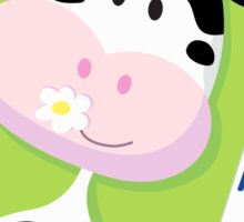 Happy cow with milk box on green background Sticker