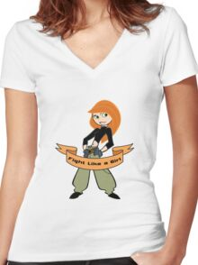Kim Possible - Fight Like a Girl Women's Fitted V-Neck T-Shirt