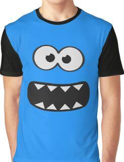 Funny Monster Smiley (Om Nom Nom Style) Face (blue background) Graphic T-Shirt