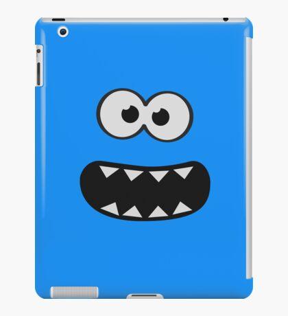 Funny Monster Smiley (Om Nom Nom Style) Face (blue background) iPad Case/Skin